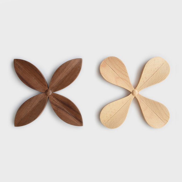 The Original Handmade Wooden Coaster Four Leaf Clover Anti-skid Pad Thickening Bowl Placemat Heat Coffee Cup Mat