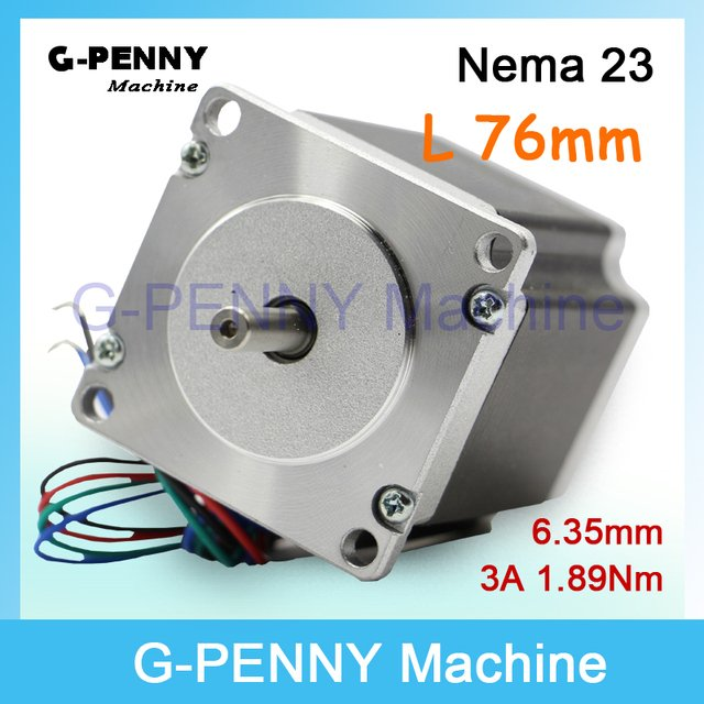 NEMA 23 CNC Stepping Motor 57x76mm shaft 6.35mm 1.89N.m for sale nema23 stepper motor 270Oz-in 3A for CNC machine and 3D printer