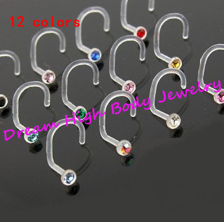 UV Acrylic Clear  Nose Screws Ring Fashion Body Jewelry Nose Stud 316L Stainless Surgical Steel Piercing Crystal Stud GEM
