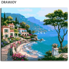 Seascape Frameless Pictures DIY Painting By Numbers Home Decor For Living Room Canvas Oil Painting Canvas PaintingGX6919