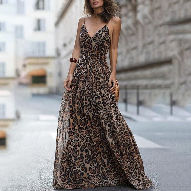 New Products Hot Sale Fashion Sexy Dress Bohemian Style Leopard V Neck Sling Maxi Dress Women Summer Beach Long Dress
