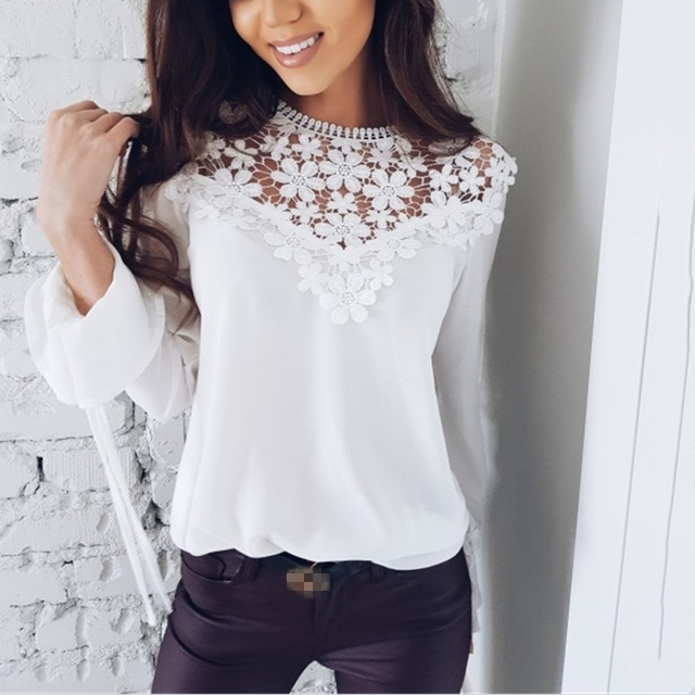 2018 Spring Summer Women Long Sleeve Lace Chiffon Blouses Floral Patchwork Crocheted Lace Chiffon Tops Hollow Out Chiffon Shirts