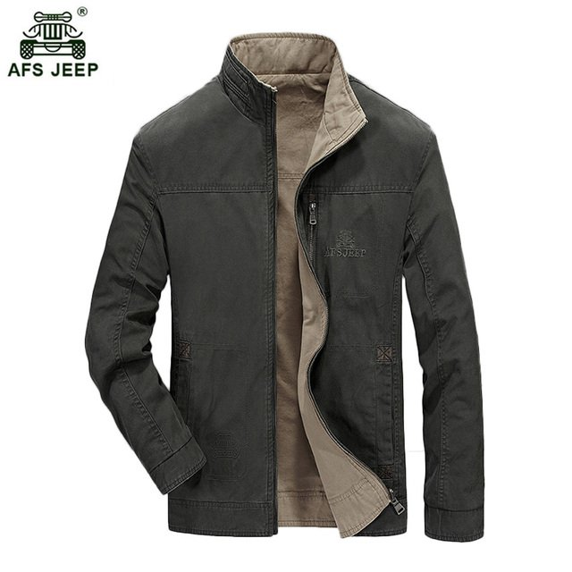 New Design Mens Double Side Jacket Men Outwear Casual Jacket AFS JEEP Brand Stand Collar Jacket Hot Sale Jaqueta Masculina 145