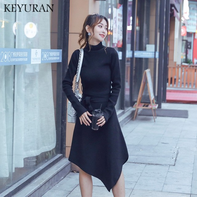 Turtleneck 2018 Sexy With Sashes OL Knitted Dress Women Slim Casual Autumn Winter Long Sleeve irregular Sweater Dresses Vestidos