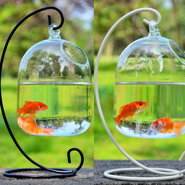 【2021 New Years Special】 Transparent Fish Bowl 15cm Mini Acrylic Hanging Fish Tank for Fish Tank