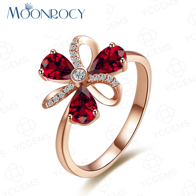 MOONROCY Drop Shipping Fashion Cubic Zirconia Rose Gold Color Red Crystal  Wedding Rings Jewelry Wholesale for Women Girls Gift