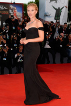 2014 Sexy Off Shoulder Backless Black Long Chiffon Scarlett johansson at Venice Film Festival red carpet Celebrity dresses