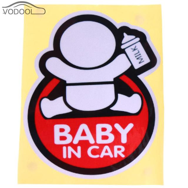 Car Styling Reflective Sticker Baby In Car Cartoon Decal Stickers Automobiles Window Glass Safety Warning Sticker Accessories