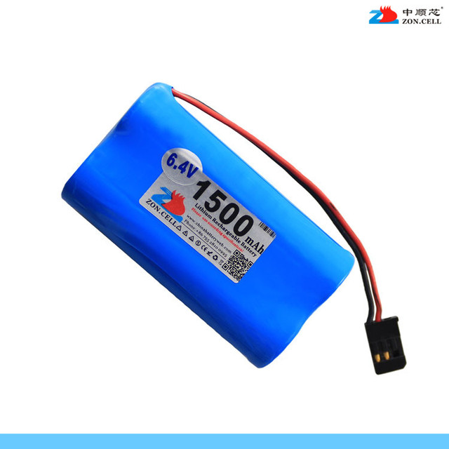 New In core 6.4V 1500mAh cylindrical lithium iron phosphate battery 18650x2 JR XG8 transmitter battery Rechargeable Li-ion Cell