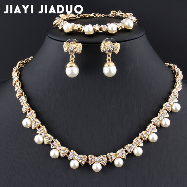 Jiayijiaduo Imitation Pearl Gold-color Jewelry Sets for Women's Bridal  Wedding Accessories Necklace Earrings Bracelet Gift Party - buy  inexpensively in the online store with delivery: price comparison,  specifications, photos