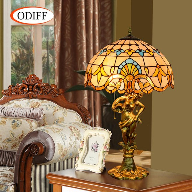 ODIFF European Baroque Stained glass living room decorative Table Lamps Bar, restaurant, bedroom, office Beauty art lamp 90-260V