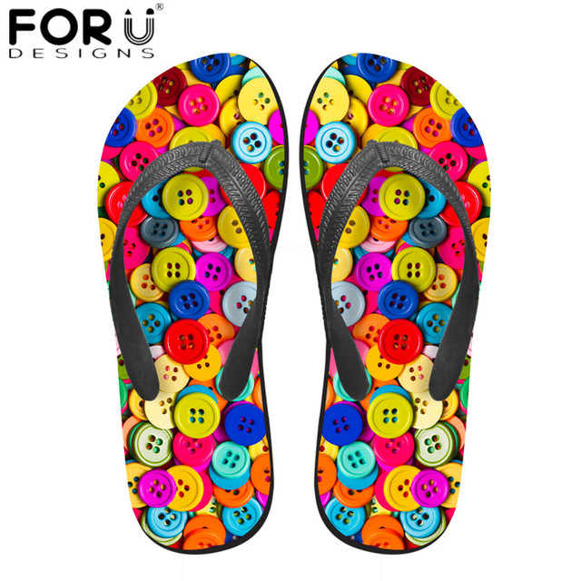 FORUDESIGNS Casual Summer Beach Water Slippers Colorful Button 3D Printing Women Solid Rubber Flip Flops Non-slip Sandals Shoes