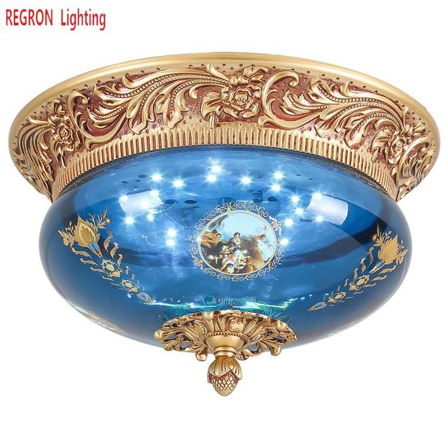 Regron European Ceiling Lamp Creative Circular Led Ceiling Light Luxury Warm Luminary For Villa Hotel Gallery Bedroom Lounge