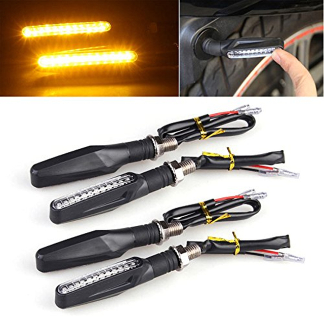 4pcs Motorcycle Turn Signal Light Flexible 12 LED Turn Signals Indicators Universal Blinkers Flashers for Honda GROM MSX125