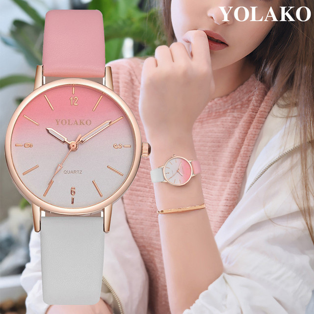 2019 New Watches Brand Luxury Casual YOLAKO Women's Casual Quartz Leather Band New Strap Watch Analog Wrist Watch dropshipping