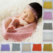 40*60cm Stretch Knit Wrap Receiving Blankets Newborn Photography Props Hollow Baby Wraps Hammock Photo Swaddle Blankets D35