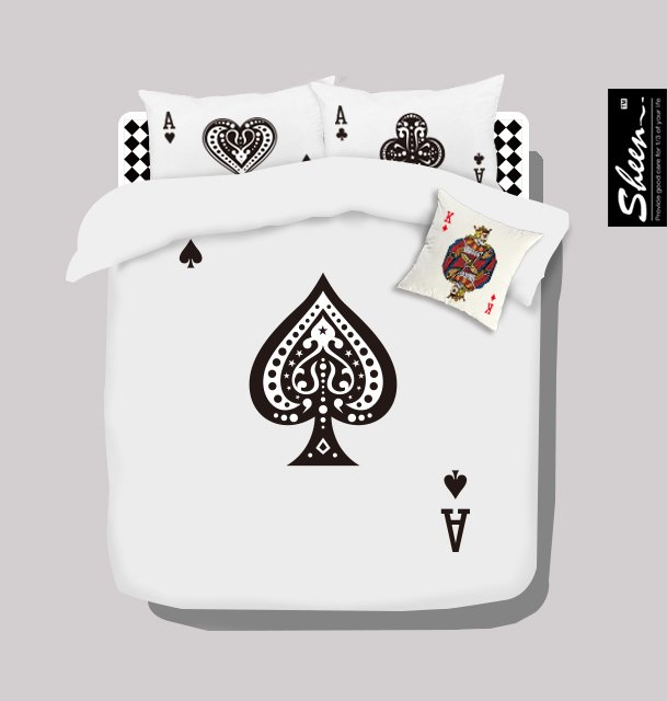 Poker black and white bedding set queen size doona quilt duvet cover double sheets bedspreads bed in a bag linen 100% cotton 80