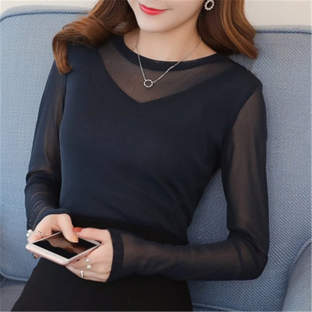 new fashion women O-Neck long sleeve spring autumn thin shirt female Spliced sexy Lace Solid color slim blouse pullover clothing