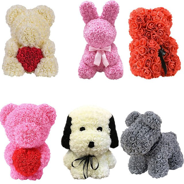 Artificial Flowers Rose Bear Dog Rabbit Pug Anniversary Valentine's Day Gift Birthday Mother Present Wedding Party Decoration