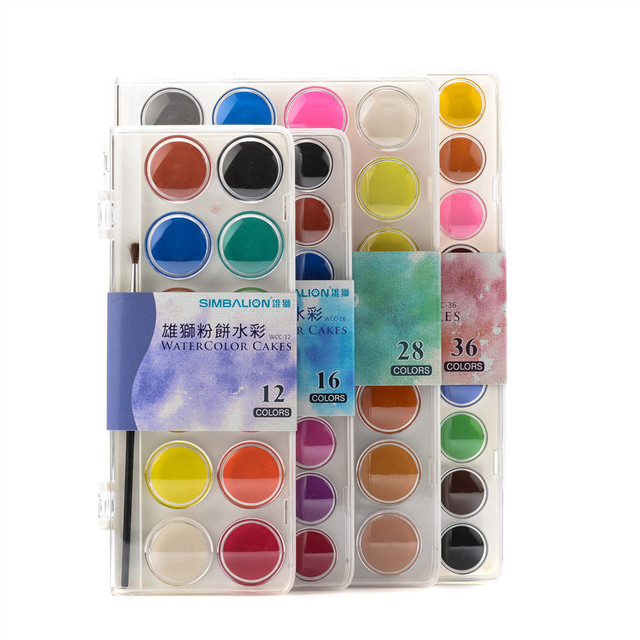 SIMBALION Transparent solid watercolor paint 12 color /16 color /28 color /36 color watercolor paint set solid powder