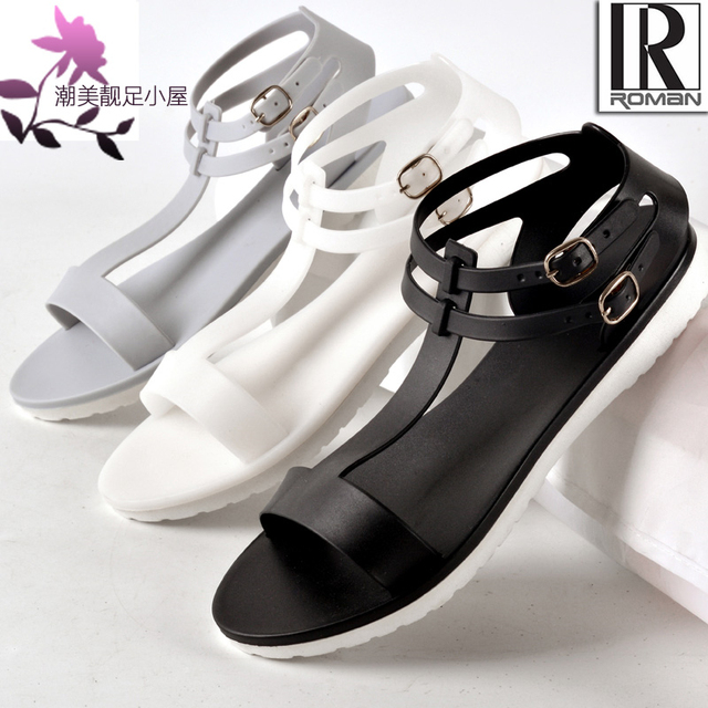 Sandals jelly shoes female brief fashion flat foot wrapping plastic women's slip-resistant shoes t plus size 4