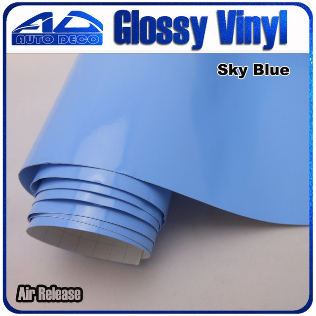 High Quality Sky Blue Glossy Car Wrap Sticker Film Foil With Air Bubble Free for Car Cover Color Change size :1.52*30m/roll