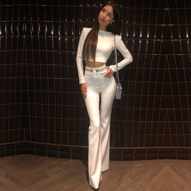 Missord 2019 women's sexy elegant two-piece set solid color bandage party jumpsuit FT19040