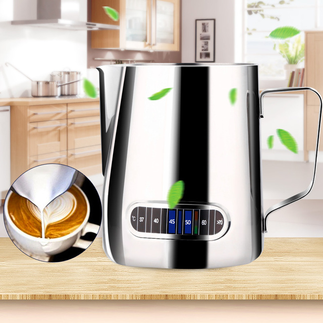 2019 Drop Shpping Temperature Display Sticker Coffee Kettle Latte Mug Durable Professional Flower Pulling Cup Coffee Pot