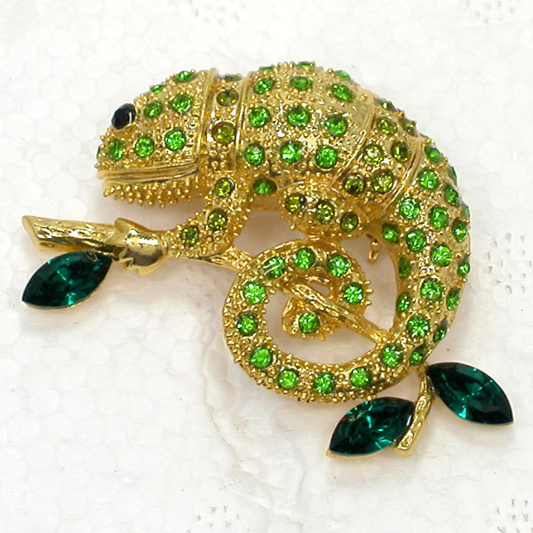 12pcs/lot Wholesale Animal Jewelry gift Brooch Rhinestone Marquise Chameleon Reptile Pin brooches C101658