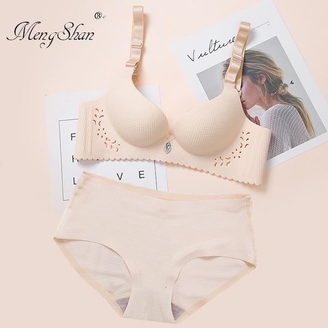 One piece lattice Hollowing out Carving Palm cup No trace Wireless Bras Suit sexy Comfortable Adjustment type stripe Underwear