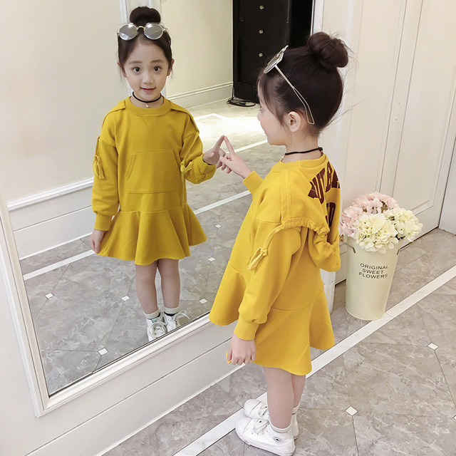 Girls Hoodie Dress Letter Spring Autumn Princess Party Dress For Girls Teenage Kids Girls Clothes 4 5 6 8 10 12 14 Year