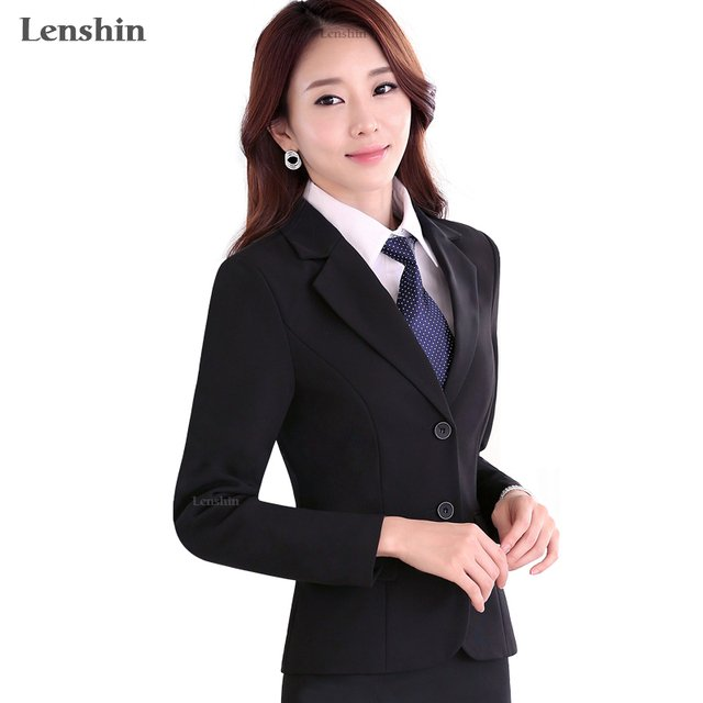 Lenshin New Plus Size Fall Winter Professional Business Work Wear Office Lady Women Elegant Black Female Blazer Coat Jackets Top