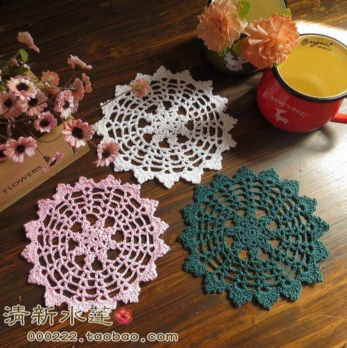 free shipping cotton crochet lace doiles as home decor table placemat cup pad  crochet coasters rustic vintage 12pic/lot