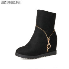 SHININGTHROUGH 2018 Fashion boots spring autumn ladies shoes high heels boots round toe platform ankle boots for woman black
