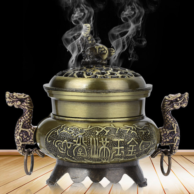 Hollowing out Cover Aromatherapy Censer Chinese Dragon Antique Hotel Retro Sleep Aid Aromatherapy Diffuser Relax Incense Base