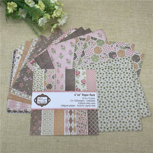 """24 sheet 6""""X6"""" Tropical Life of the flower patterned paper Scrapbooking paper pack handmade craft paper craft Background pad"""