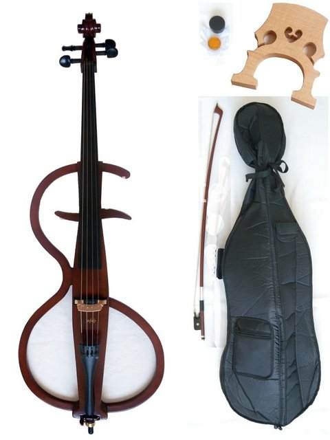 Electric cello  solid wood ebony fittings bow case  Powerful Sound White Blue Black Yellow solid wood Ebony parts #20