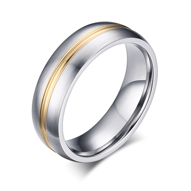 Free Engraving 6mm Two Tone Stainless Steel Metal Simple Grooved Wedding Rings with Gold Line Inlay