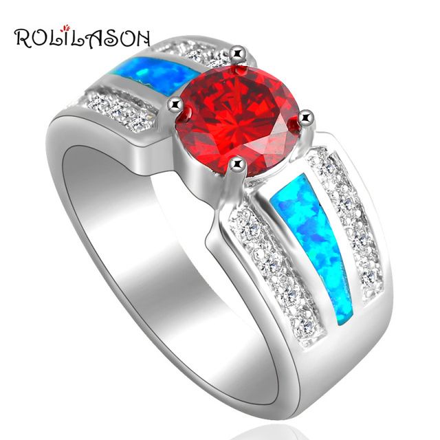 Round Orange Zirconia Inlay High Quality Blue Fire Opal silver color Stamped  Jewelry Rings USA #6#7#7.5#8#8.5#9 OR674