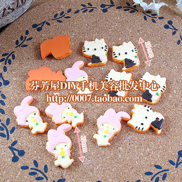 50pcs/lot flat back resins Hello Kitty Melody Rabbit 18mm+22mm mixed model cabochons DIY