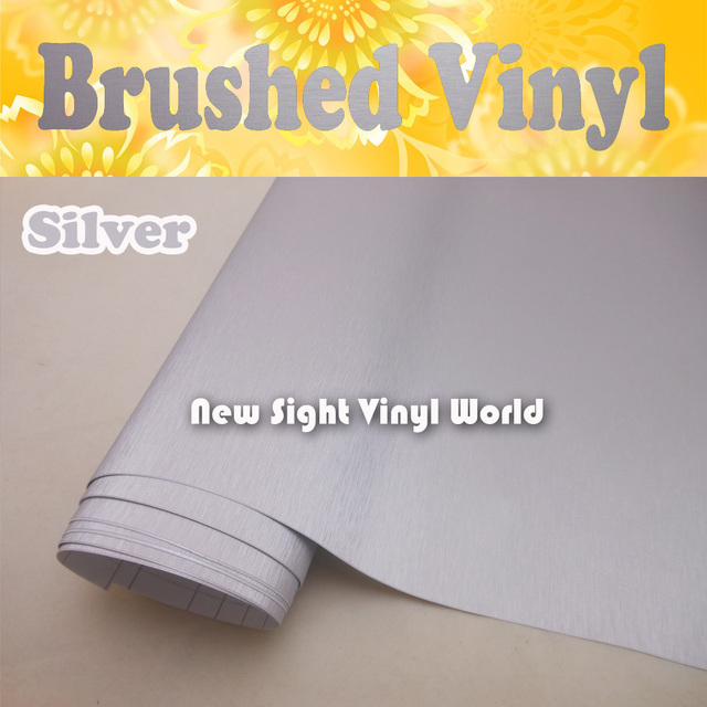 High Quality Silver Brushed Metallic Vinyl Film Brushed Silver Vinyl Wrap Air Bubble Free Size:1.52*30M/Roll