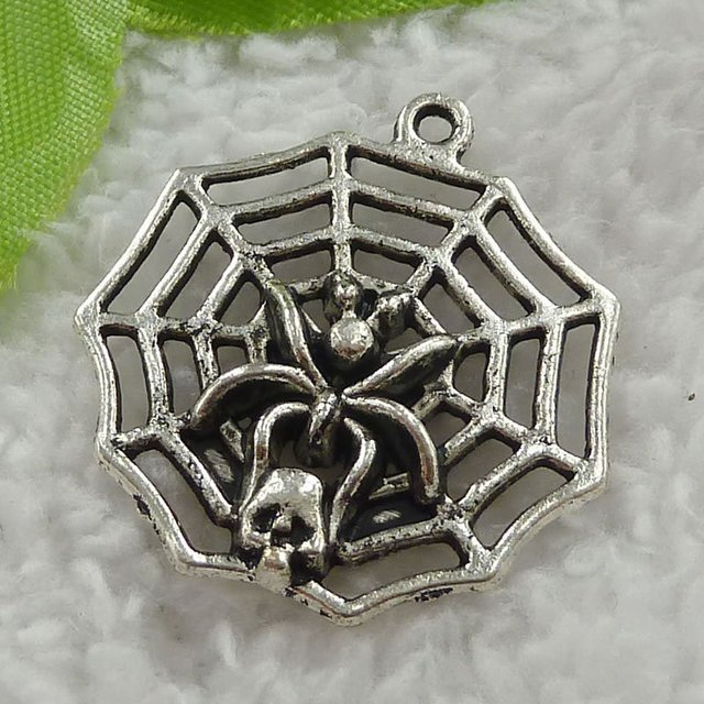68 pieces antique silver cobweb charms 33x30mm #3120