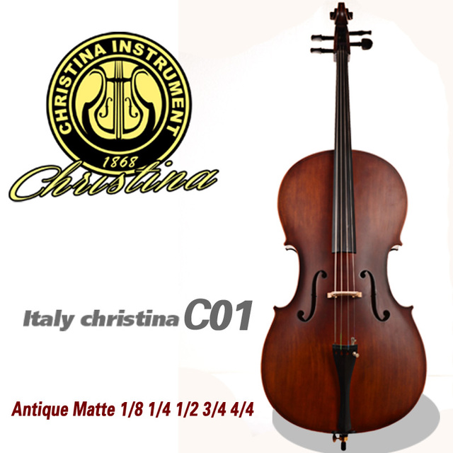 High quality Handmade Cello 4/4 Christina C01 violoncello, antique matte natural flamed acoustic 3/4 cellos musical instruments