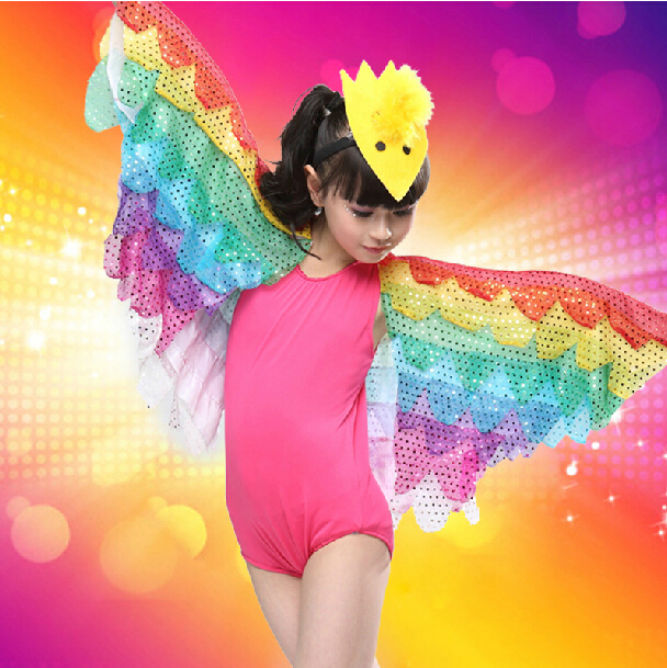Free Shipping New Yellow Hot Pink Blue Girls Child Kids Fantasia Animal Tweety Carnival Bird Halloween Costume