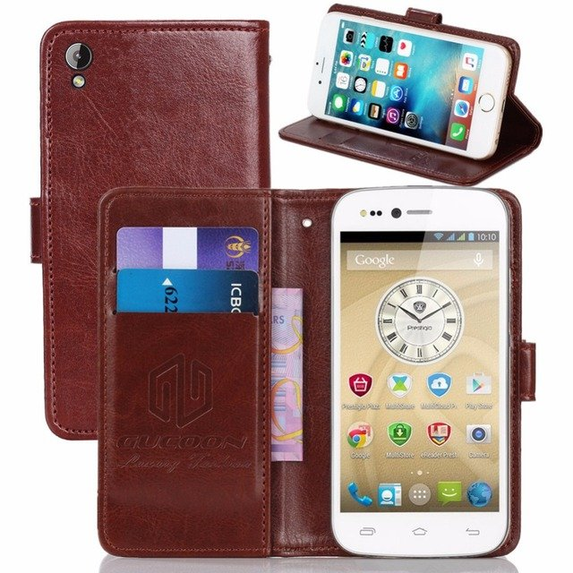 GUCOON Vintage Wallet Case for Prestigio Grace X3 PSP3455 DUO PU Leather Retro Flip Cover Magnetic Fashion Cases Kickstand Strap