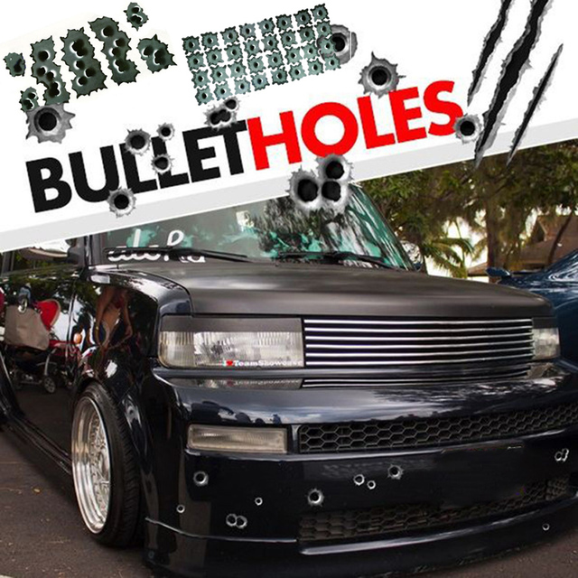 1PCS 3D Bullet Hole Car Stickers Accessories Motorcycle Scratch Sticker Decals