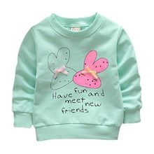 Baby Girl Sweatshirts Spring Shirts Infant Long Sleeve T-Shirts Clothes 2018 Spring Kids Bunny Cartoon Sweatshirt