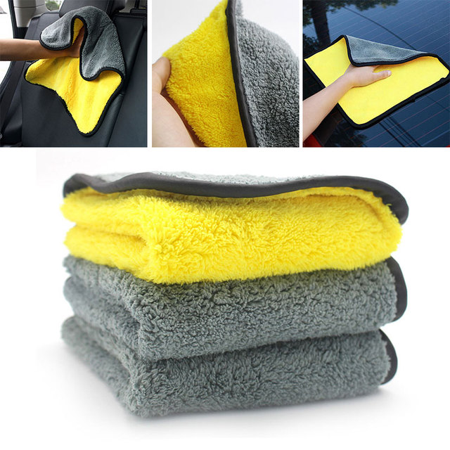 Car Wash Cloth Cleaning Towel Durable Cleaning Cloth Drying Car Wash Cars 30x30cm Universal Yellow Gray