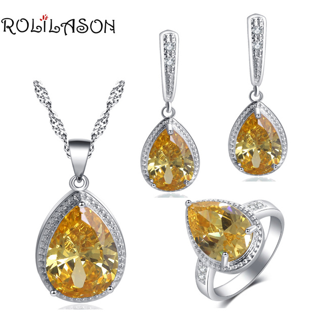 ROLILASON Hot Sell Set Water Drop Design   yellow Zircon For girl party gift Earrings Necklace Rings Jewelry Sets JS739