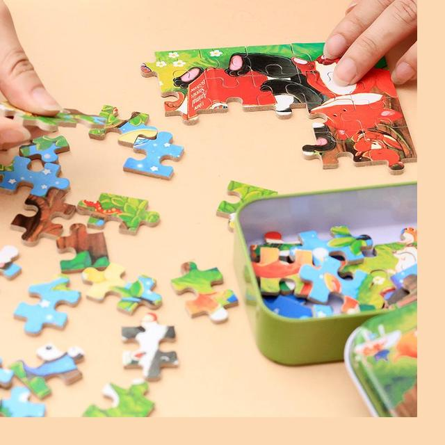 60pcs cartoon wooden puzzle 6 iron box Jigsaw puzzle for kids and children 3 ages above educational toys Free shipping Wholsale
